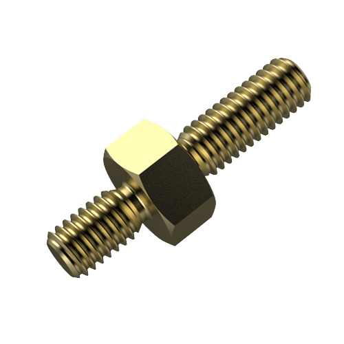 Abstandsbolzen Stahl gelb verzinkt A/A SW5,5x20 G1=M3x6 G2=M3x8 m.F.