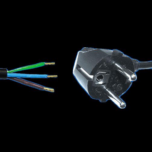 Netzzuleitung Schutzkontaktstecker 30mm abgemantelt mit Aderendhülsen