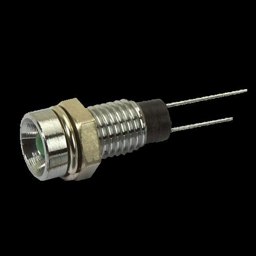 LED 4mm mit Chromfassung ø7,6mm Innenreflektor, LED grün