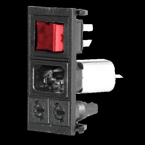 Geräte Einbaukombination Snap-in Steck/Fil/2Si-Halt/Schalter 2P/rot