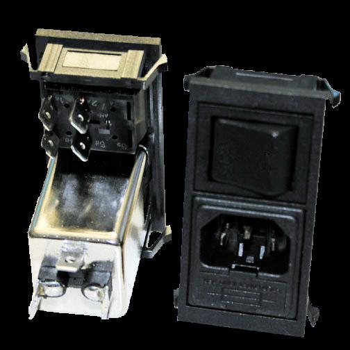 Geräte Einbaukombination Snap-In 6A Steck/Fil/Si-Halt+Schalter 2polig