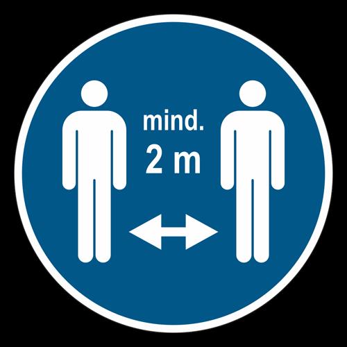 "Label ""Hold distance min. 2m"" Color: Blue/White ø200mm"