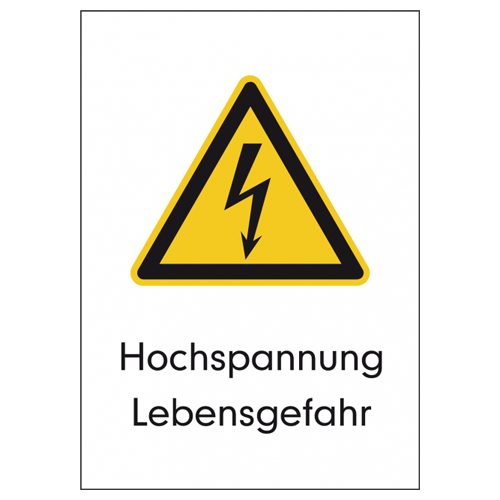 Kombischild Schild Hochspannung Lebensgefahr DIN-EN-ISO 7010 W012