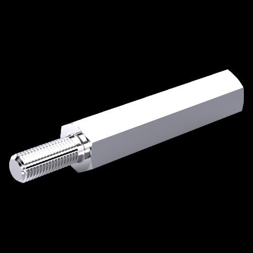 Abstandsbolzen Stahl verzinkt I/A SW5x5 I=4-40x3,4 A=4-40x8 o.F.